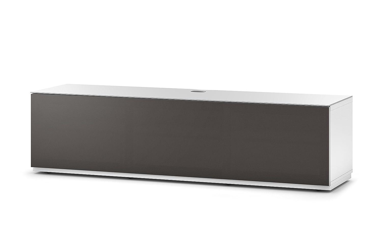 Sonorous STA 260T-WHT-OLV-BS stehende TV-Lowboard mit versteckten Rollen, weißer Korpus, obere Fläche, gehärtetem Weißglas und Klapptür mit olivfarbenem Akustikstoff