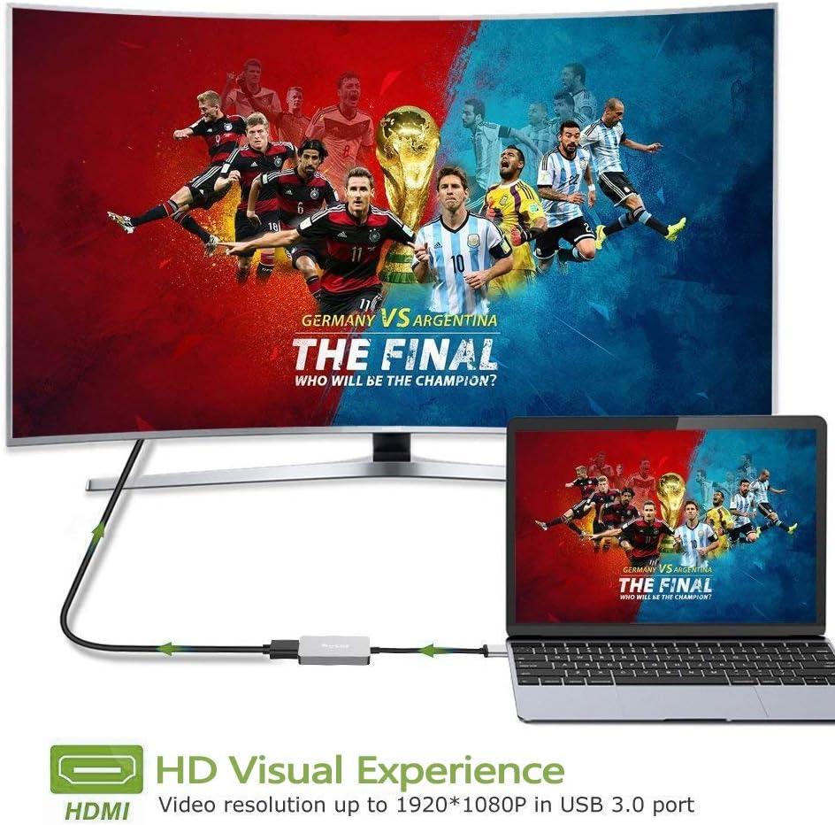 USB 3.0 a HDMI,Adaptador USB a HDMI HD1080P vídeo HDMI Adaptador Cable Conversor con HDTV TV Audio multimonitor Compatible con Windows XP /7/8/8.1/10: Amazon.es: Electrónica