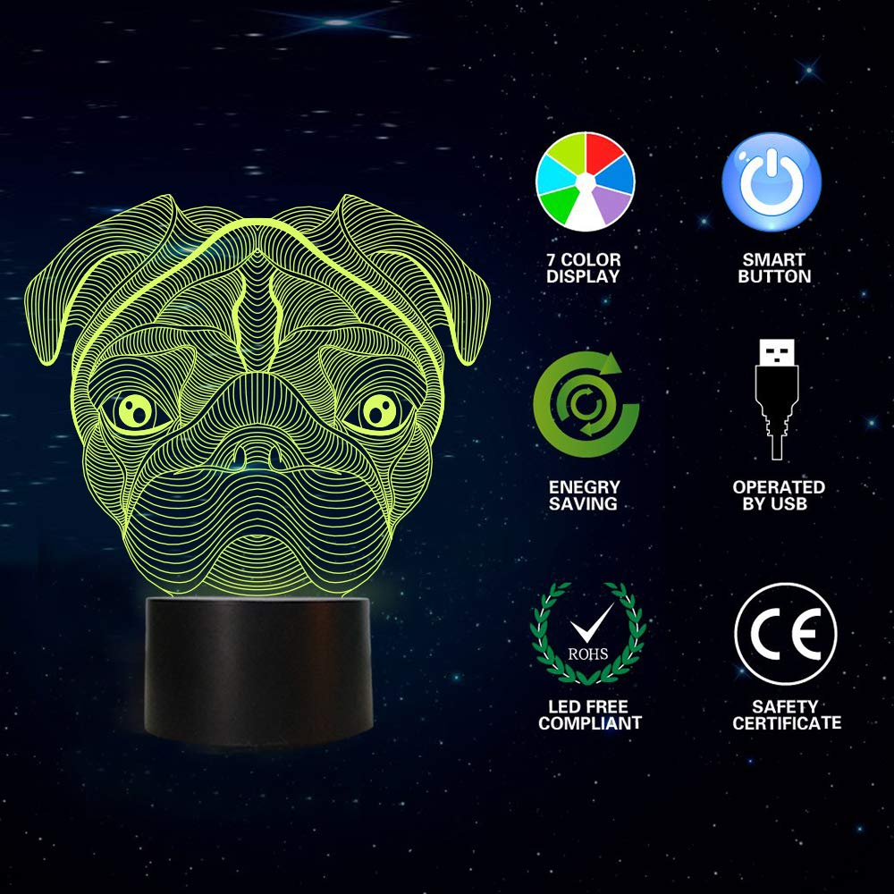 Pug 3D Night Light, Dog Light 3D Illusion Lamp for Kids with 7 Colors Changing, Creative Birthday Puppy Gifts for Boys Decoration for Kids Bedroom
