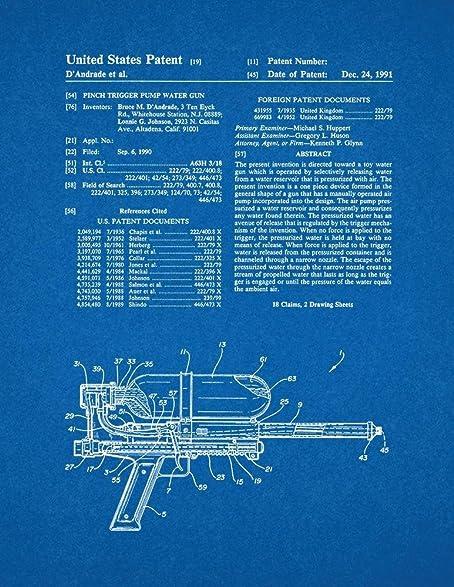 Amazon pinch trigger pump water gun patent print art poster pinch trigger pump water gun patent print art poster blueprint 20quot malvernweather Images
