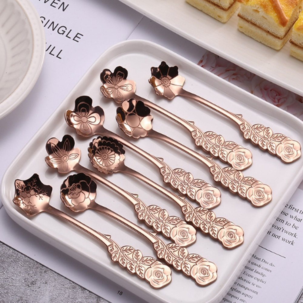 XYTMY Set of 8 Flower Coffee Measuring Spoon Tea Spoon Dessert Spoons Scoop Stainless Steel Tableware Stirring/Sugar/Stir/Bar/Mixing/Ice Cream Spoon for Kitchen Dining Bar, Condiment or Spice, Gold
