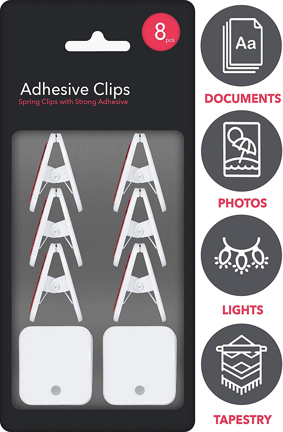 Self Adhesive Clips for Tapestry Hanger, Wall Clips, Flag Hanger for Wall, Photo Clips, Sticky Clips for Teachers, Spring Clips for Rope Light Clips, Poster (8 Pack, White)