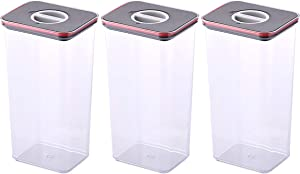 NEOFLAM Airtight Smart Seal Food Storage Container (Set of 3, Rectangle) | Crystal Clear Body | Modular, Stackable, Nestable Design | Easy to Clean, BPA Free (3.6 L, 121.7 oz)