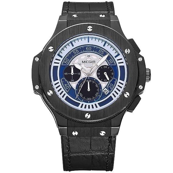 MEGIR Relojes Lujo Hombre Grande Analógico de cuarzo, cuero clasico negro, esfera azul, cronógrafo y resistente al agua: Amazon.es: Relojes