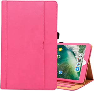 ZENGMING Tablet PC Case Cover for iPad 9.7 (2018) & iPad 9.7 inch (2017) & iPad Air 2 & iPad Air Cowhide Pattern PC Protective Case(Black) (Color : Magenta)