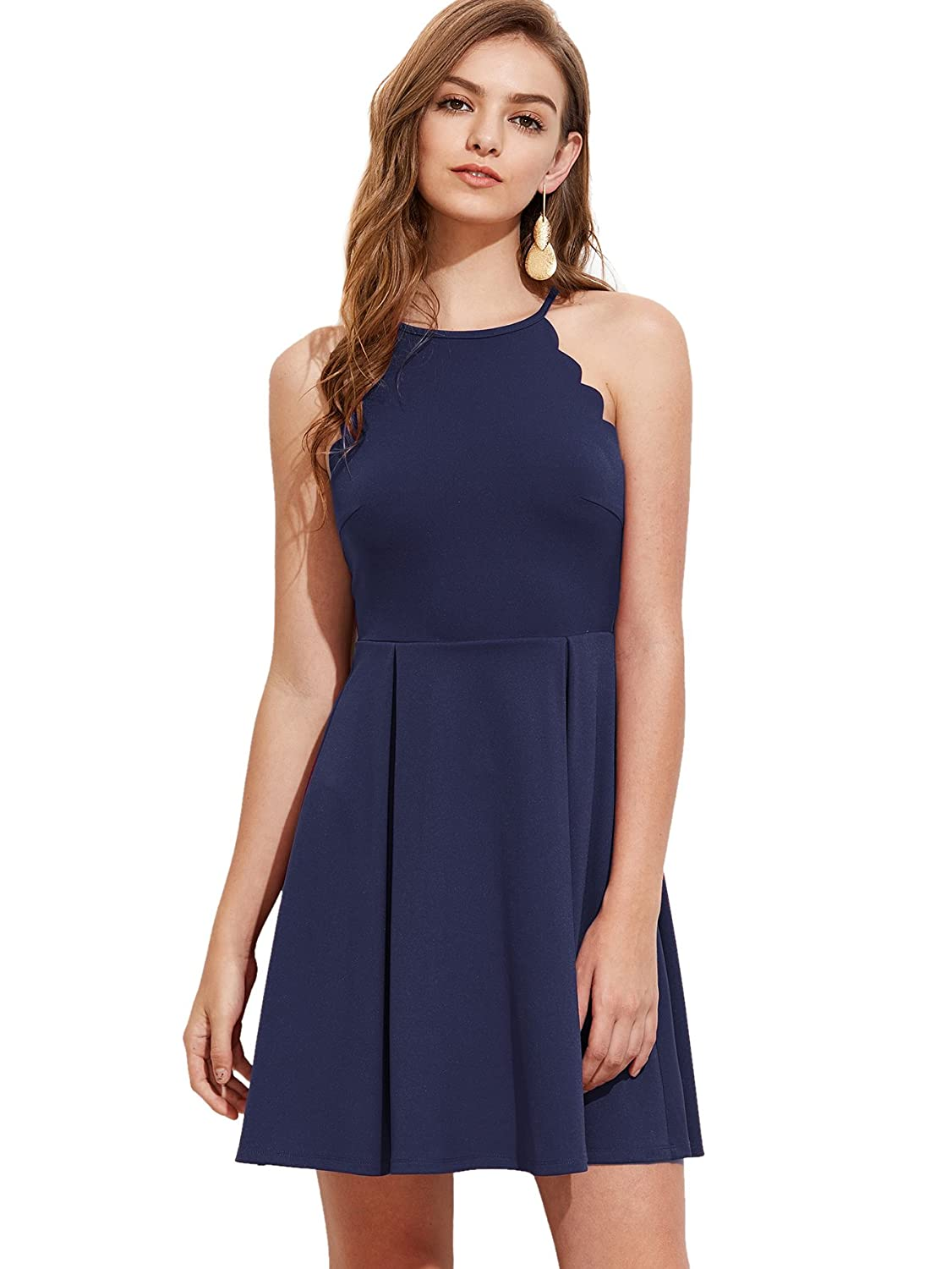 37db7a6230 Romwe Women s Sweet Scallop Sleeveless Flared Swing Pleated A-Line Skater  Dress  Amazon.ca  Clothing   Accessories