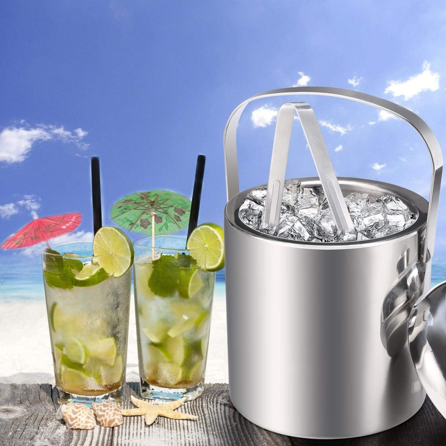 Double Wall Insulated Stainless Steel Handle Ice Bucket Chrome Finish Thick Ice Pail with Tweezers