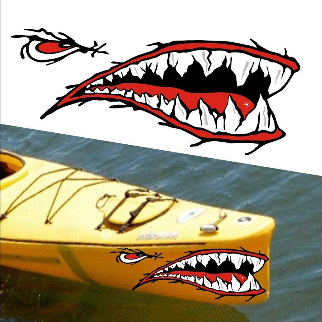 MagiDeal 2 Pedazos de Dientes de Tibur/ón Etiqueta Engomada de Boca Etiquetas Engomadas para Kayak Coche Barco
