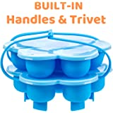 Silicone Egg Bites Molds With Built-In Handles and Trivet, Fits 5,6,8 Qt Instant Pot and Other Similar-Sized Pressure Cookers