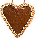 Lebkuchenherz Rohling mit Rand, 21 cm - Orange-Weiß