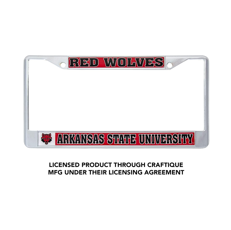 Desert Cactus Arkansas State University Red Wolves Metal License Plate Frame for Front Back of Car Officially Licensed Mascot