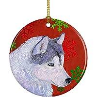 Caroline's Treasures SS4671-CO1 Siberian Husky Red Snowflakes Holiday Christmas Ceramic Ornament, Multicolor