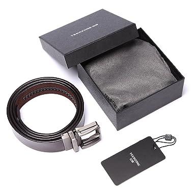 b96974360e3183 teemzone Gürtel Herren Braun Leder 35mm Automatik Ledergürtel Herrengürtel  aus Vollrindleder mit Automatikschließe: Amazon.de: Bekleidung