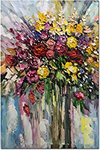 Fasdi-ART Oil Painting Flower Rose 3D Hand-Painted On Canvas Abstract Artwork Art Wood Inside Framed Hanging Wall Decoration Abstract Painting (DF003, 24x36inch)