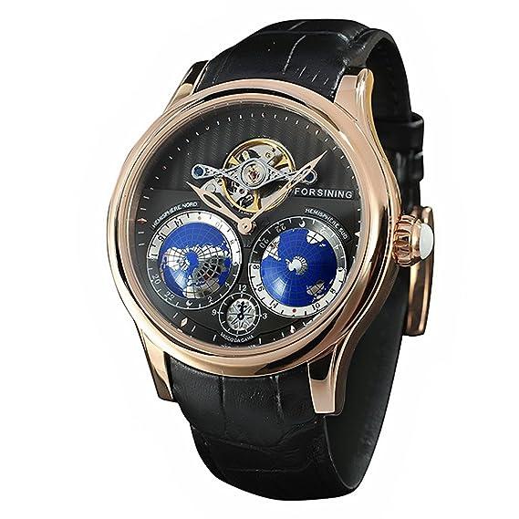 forsining Hombre Reloj Automático de lujo con mapa del mundo Tourbillon Movimiento Acero Inoxidable: Amazon.es: Relojes