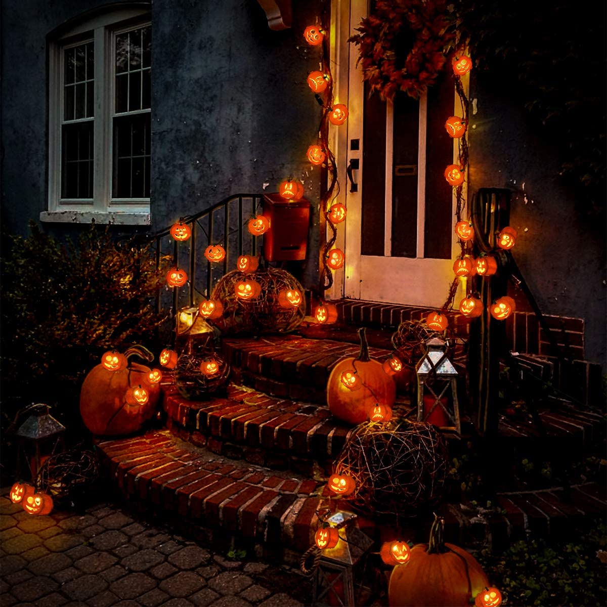 Halloween Pumpkin String Lights, 8FT Battery Operated String Lights for Indoor, Party, Halloween Decoration