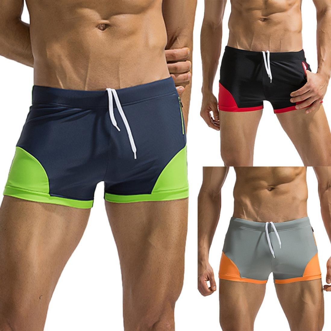 vermers Hot Sale Men's Casual Swimwear Boardshorts - 2018 New Beach Shorts Surfing Splice Swim Boxer Trunks(L, Black)