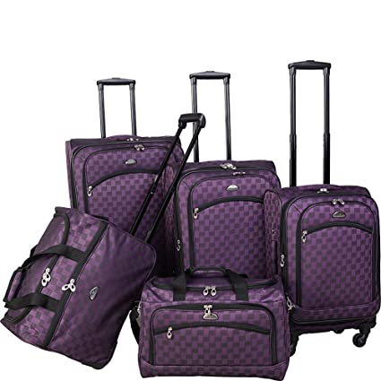 fe55fc83e Image Unavailable. Image not available for. Color: American Flyer Madrid 5-Piece  Spinner Luggage Set Blue
