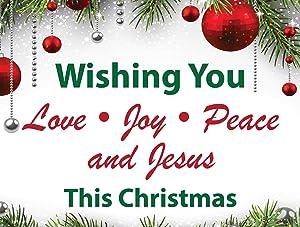 Memory Cross Christmas Yard Sign - Wishing You Love, Joy, Peace & Jesus - Prints 2 Sides - 1 Sign per Pack.