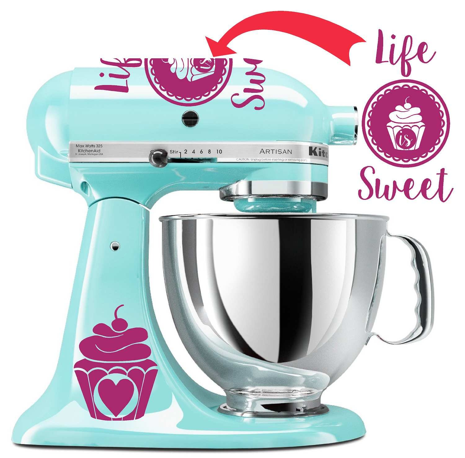 Amazon.com: Life is Sweet Mixer Decal Set (Light Blue): Kitchen & Dining