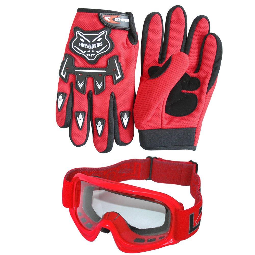 Guanti Completo da Uomo S Giallo Neon Occhiali + Casco/&Guanti L 5-6 Anni Tuta da Motocross per Bambini Leopard LEO-X16 Casco da Motocross per Bambini