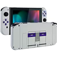 eXtremeRate Soft Touch Grip Back Plate for Nintendo Switch Console, NS Joycon Handheld Controller Housing with Full Set…