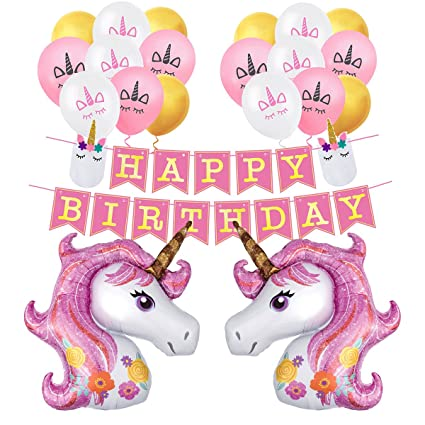 Unicorn Pink Balloons Party Decorations Happy Birthday Banner Sleep Face Latex Balloon Kit