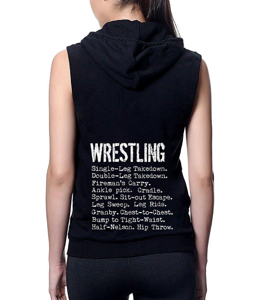 Junior's Wrestling Moves Black Sleeveless Fleece Zipper Hoodie Small Black