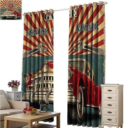 Fakgod - Cortinas para Puerta corredera (84 x 72 L), diseño de Tienda de reparación de Garaje: Amazon.es: Hogar