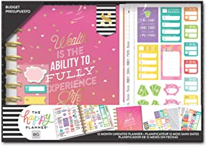me & my BIG ideas The Happy Planner Box Kit - Wealth & Budget Theme - 12 Month Undated - Monthly Layout - 4 Sheets of Stickers, 1 Magnetic Bookmark, Sticky Notes - Classic Size