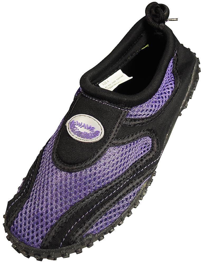 Womens Water Shoes Aqua Socks Pool Beach ,Yoga,Dance and Exercise (9, Purple/Black 1185L)