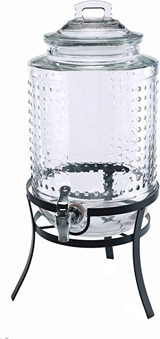 Circleware 69184 Vintage Dots Beverage Dispenser with Metal Stand, Glass Lid & Handle, Fun