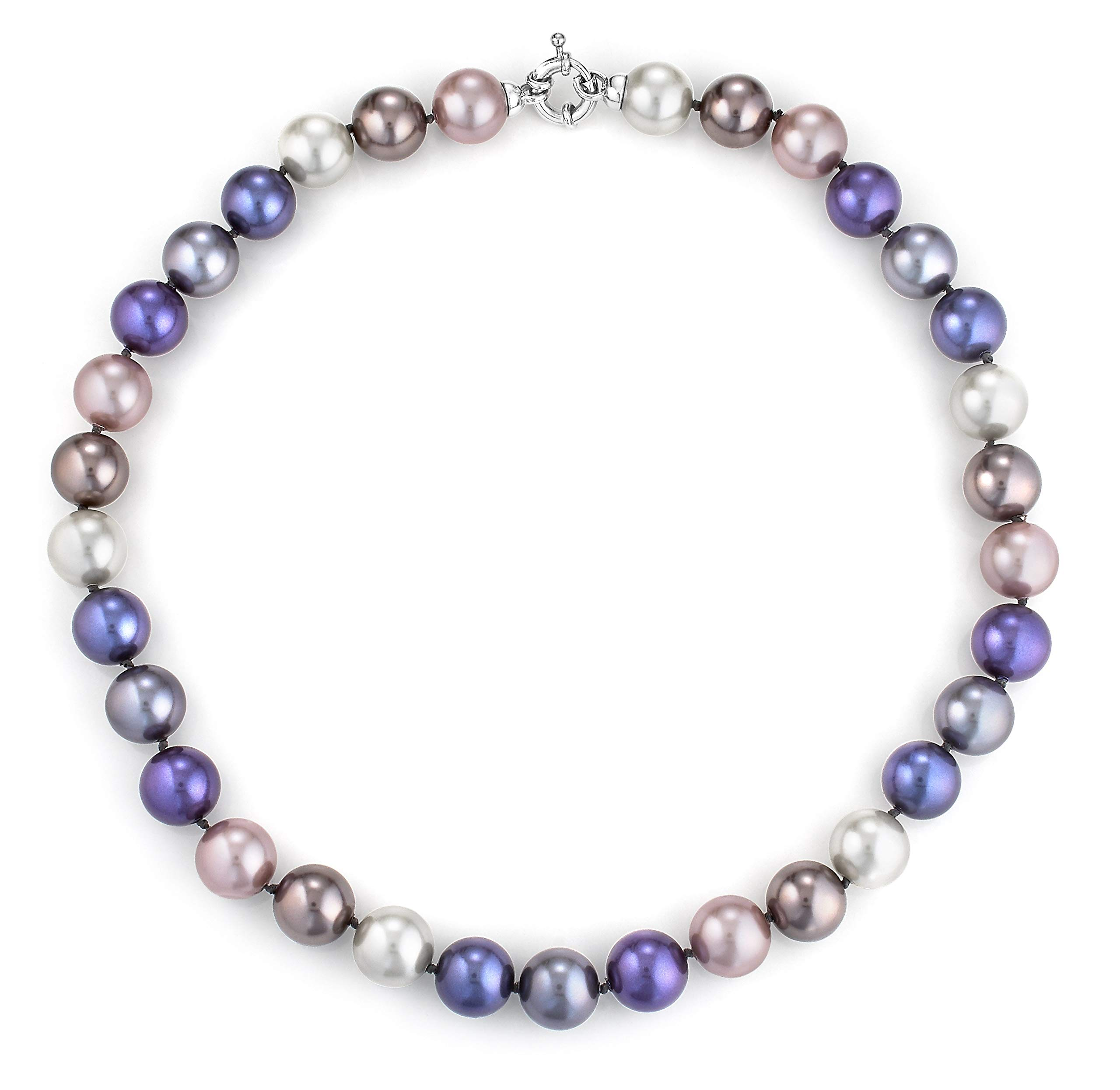 Joia De Majorca, 12mm, 18 inch Multi-Hues Pearl Necklace with Rhodium Euro Clasp, Purples, Pinks, Champagne, Lustrous, Man-Made Organic Strand of Pearls from Majorca Spain by JOIA DE MAJORCA