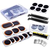 Maifede Bike Inner Tire Patch Repair Kit - with 11 PCS Vulcanizing Patches, 6 PCS Pre Glued Patchs, Portable Storage Box, Met