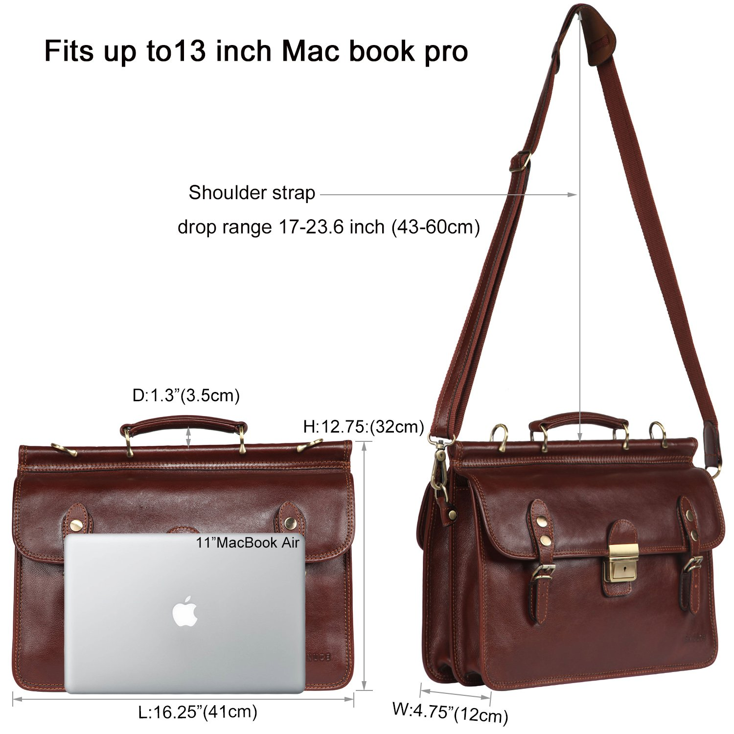 Banuce Mens Italian Leather Flapover Briefcase Tote 2way Business Laptop Messenger Bag Attache Case by Banuce (Image #4)