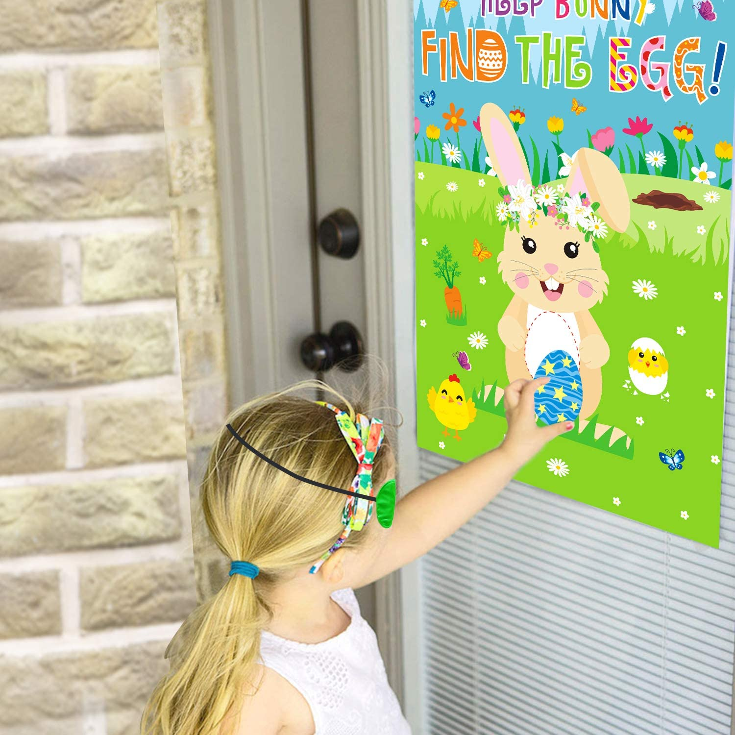 Bunny Toss Games Banner Beanbags Cornhole Game Pin The Egg Game Help Bunny Find The Egg Large Poster for Kids Adults Family School Indoor Outdoor Party Ideas CiyvoLyeen Easter Games Kit