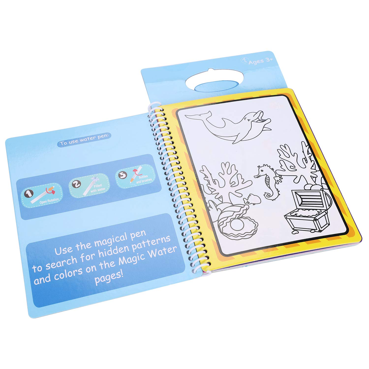 QCHOMEE Magic Water Drawing Book Painting Coloring Board Childrens Drawing Painting Album with Reusable Pen Animal Space Architecture Learning Educational Toys for Kids