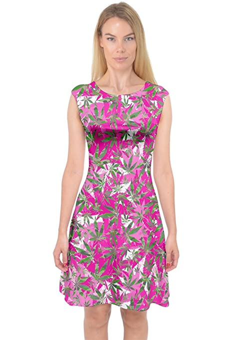 PattyCandy Womens Pink Cannabis Marijuana Stylish Capsleeve Midi Dress, XS-3XL