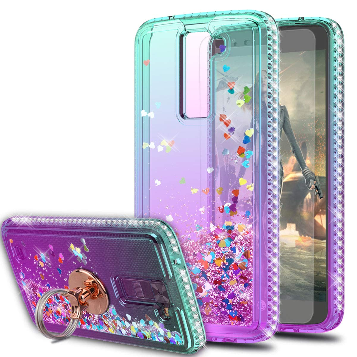 LG Tribute 5 Case,LG Escape 3/ LG Treasure/LG Phoenix 2 Case with HD Screen Protector with Ring Holder,KaiMai Glitter Moving Quicksand Clear Cute Shiny Phone Case for LG K7-Aqua/Purple Ring by KaiMai