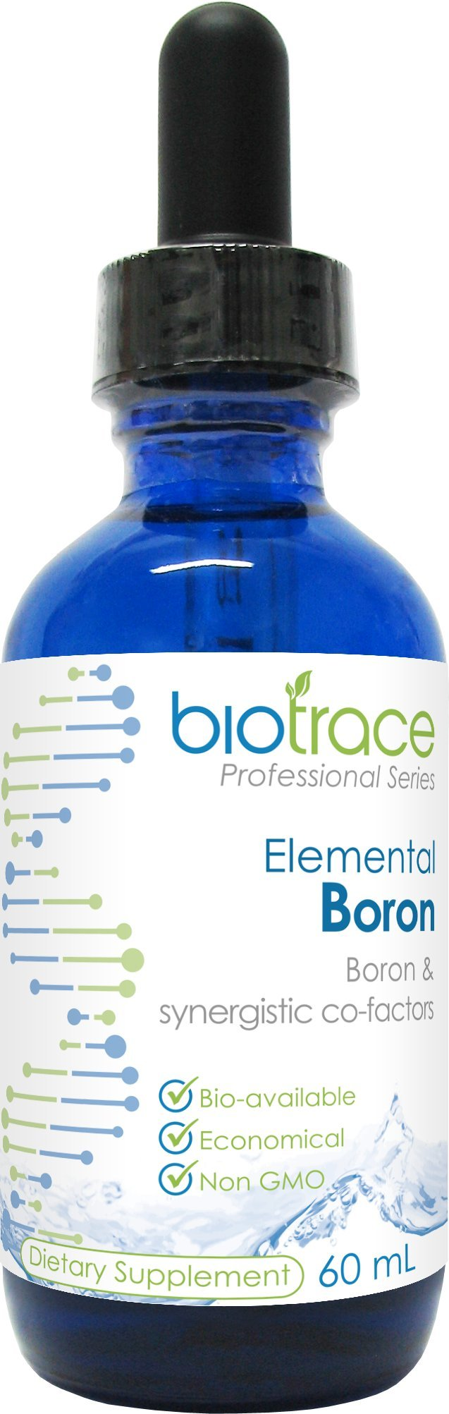 Boron Supplement Liquid Concentrated with 72 Trace Minerals Ionic Drops ( BioTrace Elemental Boron ) for 60-day Supply in 2.03 Fl Oz Small Travel Size
