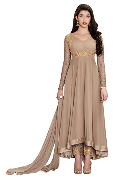 d5d74b614ac Ethnic Yard Women Beige Faux Georgette Fabric Semi Stitched Suit   Amazon.in  Clothing   Accessories