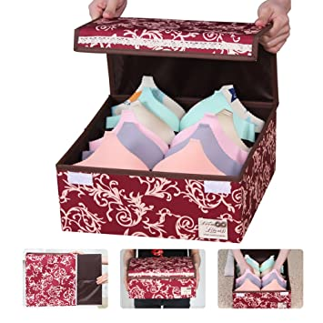 Sivin Designed For Bras 6 Grid Foldable Bra Storage Box With Dust Proof  Lids Washable
