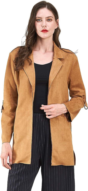 Mid-Length Raincoat Pea Coat with Belt NOBLEMOON Womens Lapel Trench Coat