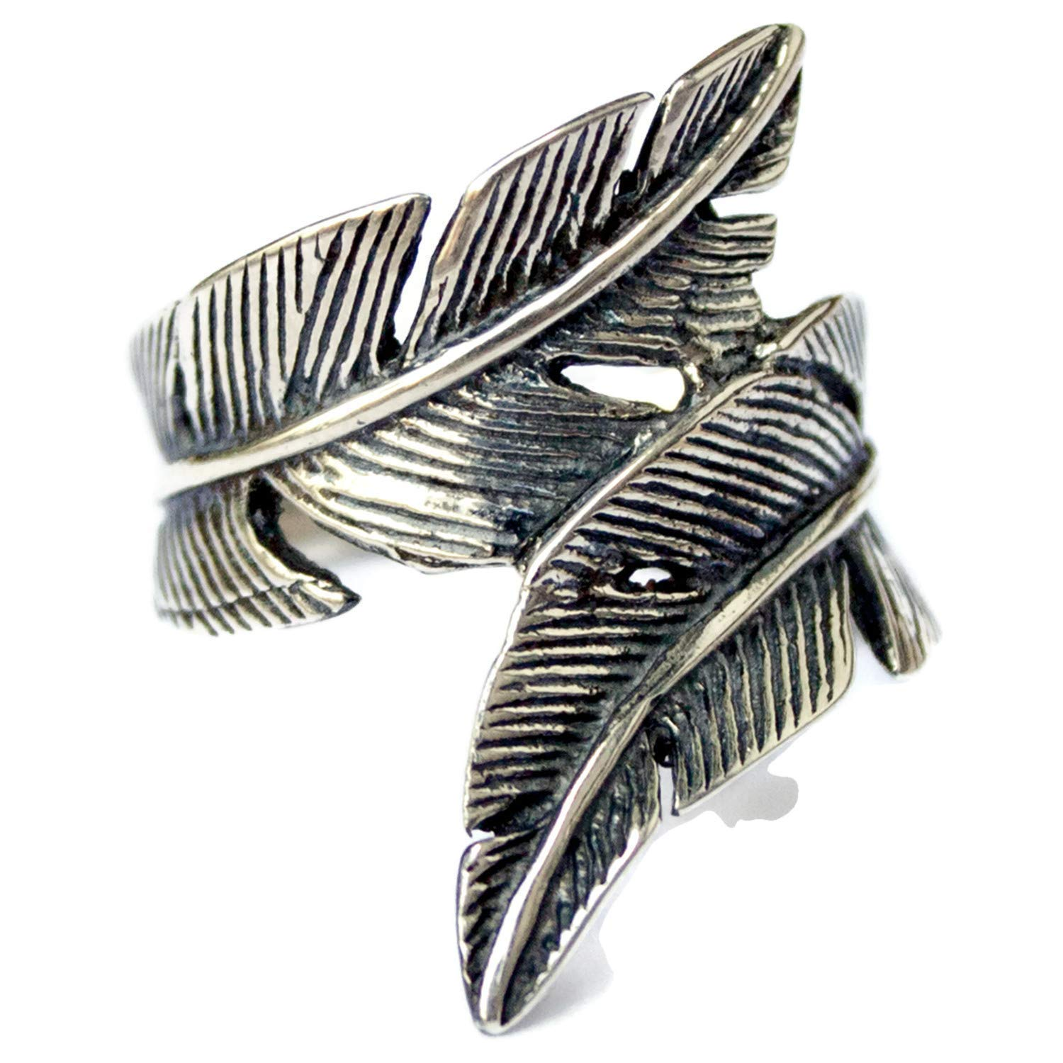 7fb0b847defd3 Amazon.com: 925 Sterling Silver Bird Feather Ring for Women Men Wrap ...