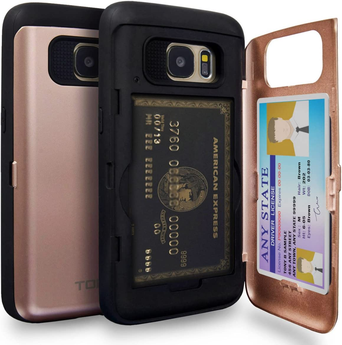 TORU CX PRO Galaxy S7 Wallet Case Pink with Hidden Credit Card Holder ID Slot Hard Cover & Mirror for Samsung Galaxy S7 - Rose Gold