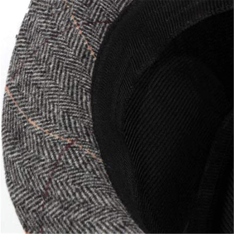 Grey Plaid Fedora Hat Men Woolen Herringbone Tweed Classic Jazz Hat Male British Style Vintage Hat New