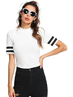 97c4a9c981450 SweatyRocks Women s Ribbed Short Sleeve T Shirt Mock Neck Slim Fit Blouse  Tops