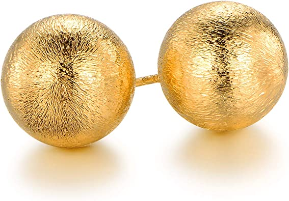 Barzel 18k Gold Plated Mesh Ball Stud Earrings