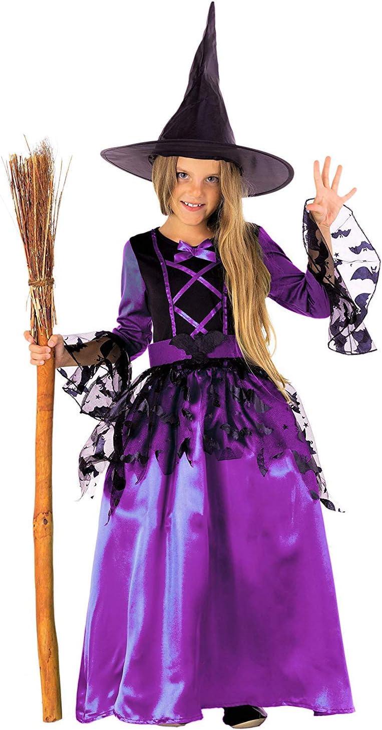 pour Fille 110//116 Magicoo Costume de sorci/ère Fantaisie Violet et Noir avec Robe et Chapeau Motif Chauve-Souris