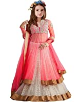 Market Magic World Kid Party Wear Pink Net Semi-Stitched Dress for Girl (Gown_Free Size_8-12 year Girl)